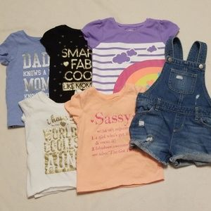 Girls 3T overalls and t-shirts